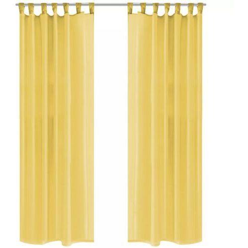 Vidaxl zasłony z woalu, 2 sztuki, 140 x 225 cm, kolor żółty (8718475516750)