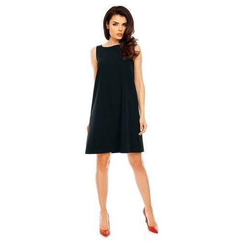 Czarna wyjściowa sukienka trapezowa bez rękawów, Nommo, 34-44