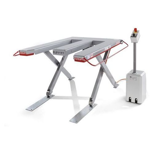 Płaski stół podnośny, seria e, nośność 600 kg, dł. x szer. 1300x1150 mm, prąd zm marki Flexlift hubgeräte