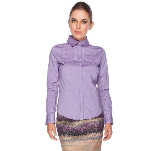 Fioletowa koszula z pionowymi zakładkami - Duet Woman