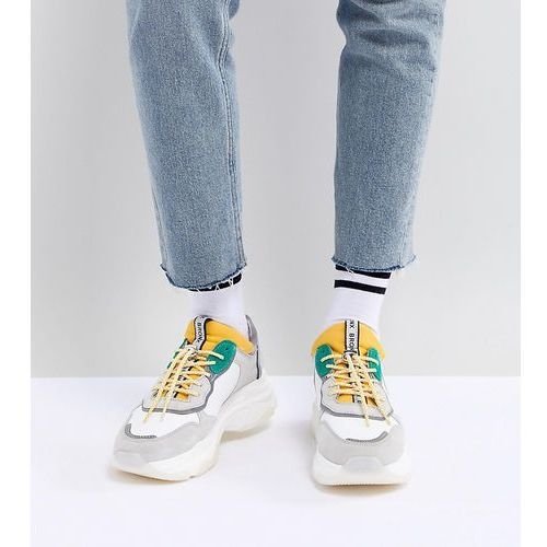 Bronx Yellow & Green Suede Chunky Trainers - White, kolor biały