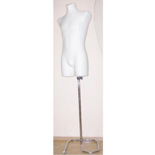 Manekin krawiecki - tors męski długi ecru - rozmiar M/L na metalowym stojaku zawijanym.