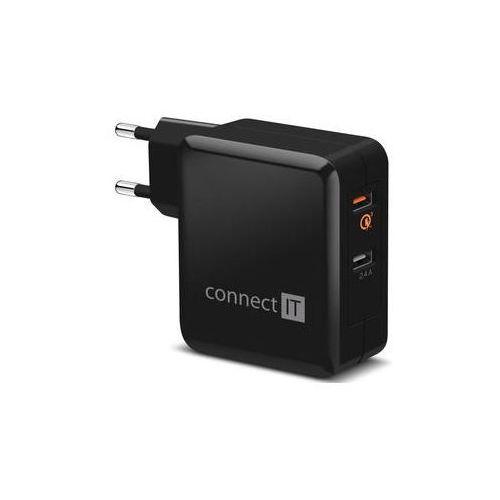 Ładowarka do sieci Connect IT 2x USB (3,4A), s funkcí rychlonabíjení QC 3.0 (CWC-3010-BK) Czarna