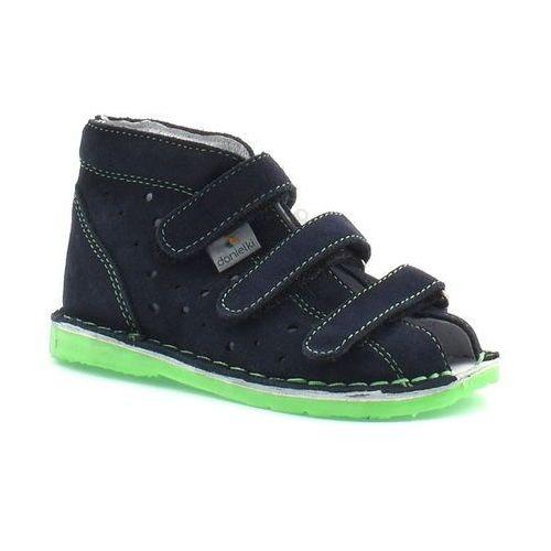 Dziecięce buty profilaktyczne tx105/115 granat fluoz - zielony ||granatowy marki Danielki