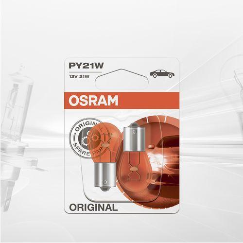 Osram original py21w 7507-02b halogenowa żarówka sygnałowa, światło kierunkowskazu, 12 v, opakowanie blistrowe (2 sztuki) (4050300925462)