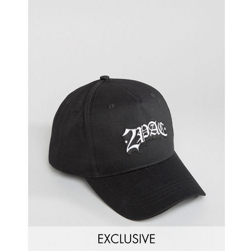 Reclaimed vintage  inspired baseball cap in black with 2pac logo - black