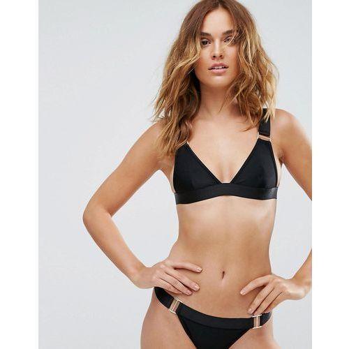 PrettyLittleThing Black Clip Detail Bikini Top - Black, kolor czarny