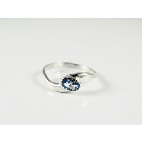 Srebrny pierścionek 925 BŁĘKITNE OCZKO r. 17, kolor niebieski