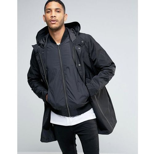 ASOS Parka Jacket With 2 in 1 Inner Bomber In Black - Black, parka