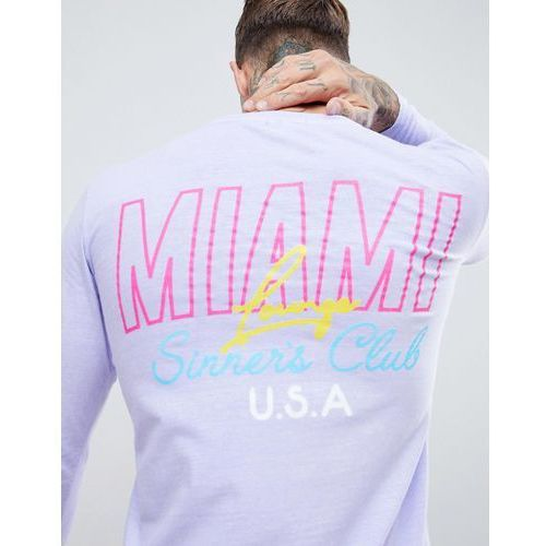 boohooMAN long sleeve t-shirt with Miami print in lilac - Purple