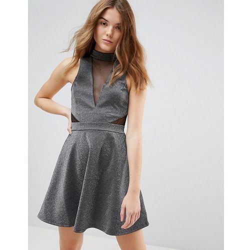 mesh insert metallic skater dress - silver, New look