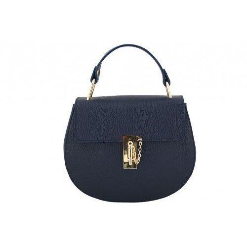 Modne torebki listonoszki damskie skórzane - Barberini's - Granatowy, kolor niebieski
