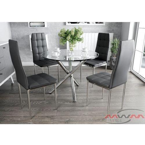 Stół szklany 80cm gr-077 + 4 krzesła tapicerowane k1 chrom marki Meblemwm