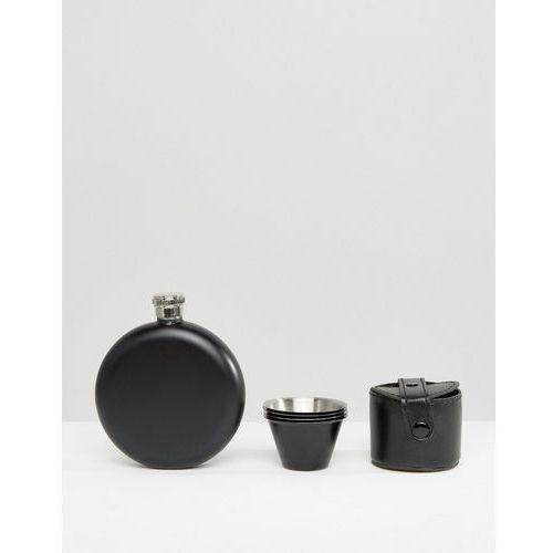 Gifts Hip flask & shot glasses set in black - black