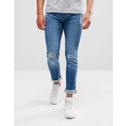 distressed mid wash jeans - blue, Another influence