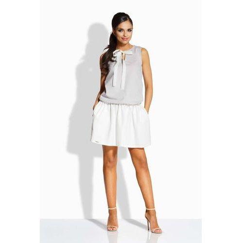 Lemoniade Stalowa ecru sukienka z wiązaniem przy dekolcie