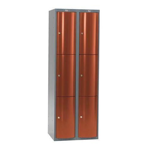 Aj produkty Metalowa szafa ubraniowa curve, 2x3 drzwi, 1740x600x550 mm, czerwony