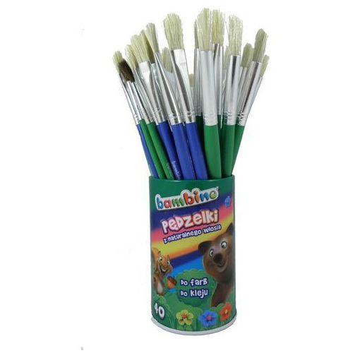 Pędzelki do farb i kleju bambino 40 sztuk w kubku marki St. majewski