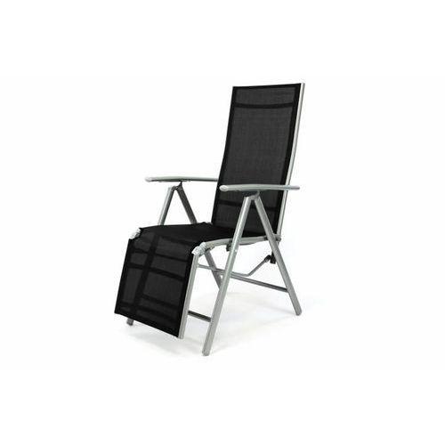 Leżak krzesło ogrodowe składane z wysokim oparciem i podnóżkiem czarne