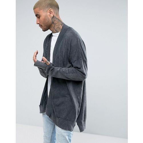 cardigan with rip detail in washed stone - grey marki New look