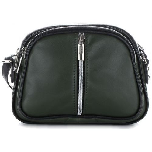 Modne Torebki Skórzane Listonoszki firmy Genuine Leather Butelkowo Zielone (kolory)