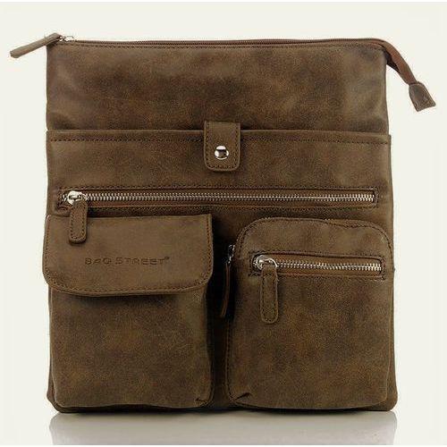 Brązowo-beżowa raportówka listonoszka w stylu vintage - brązowy ||beżowy marki Bag street