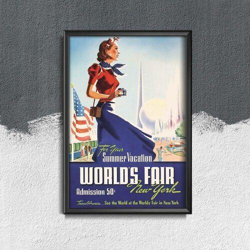 Plakat w stylu vintage Plakat w stylu vintage Światowe Targi Nowy Jork Usa