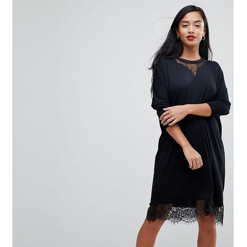ASOS PETITE Oversize T-Shirt Dress with Batwing Sleeve and Lace Inserts - Black, kolor czarny