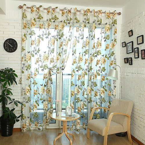 Gearbest 270cm x 100cm flower tull curtain window screening