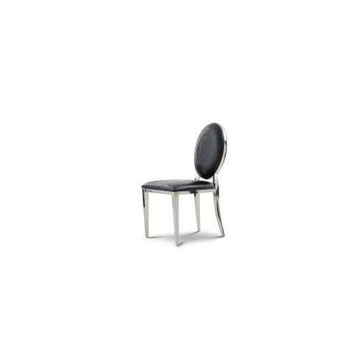Krzesło Ludwik glamour Black Croco - nowoczesne krzesło tapicerowane ekoskóra (5908273392622)