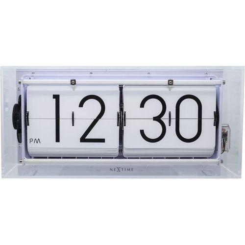 Nextime - zegar stojący big flip clear - transparentny