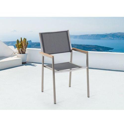 Meble ogrodowe szare - krzesło ogrodowe - balkonowe - tarasowe - GROSSETO (7081456589922)