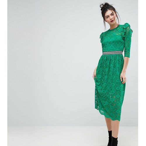 ASOS TALL Midi Lace Tea Dress with Sports Tipping - Green, kolor zielony