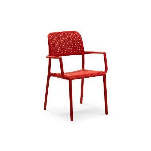 Krzesło z podłokietnikami Bora - czerwony, kolor czerwony