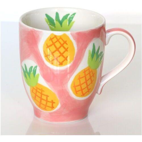 Kubek ananas brzoskwiniowy – ręcznie malowany z owocowym motywem, uroczy upominek dla najbliższej osoby marki Cup&you cup and you