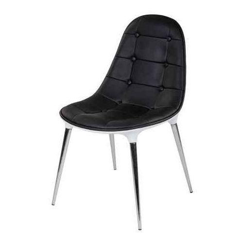 Krzesło PASSION ekoskóra czarno-białe - włókno szklane, nogi chromowane (5900168810907)