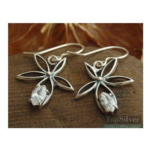 whiteGRASS  srebrne kolczyki z kryształem Swarovskie