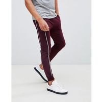 ASOS DESIGN super skinny joggers with velour side stripe and piping in burgundy - Red, w 8 rozmiarach