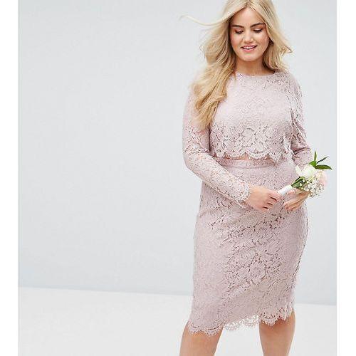 ASOS DESIGN Curve Bridesmaid lace long sleeve midi pencil dress - Pink