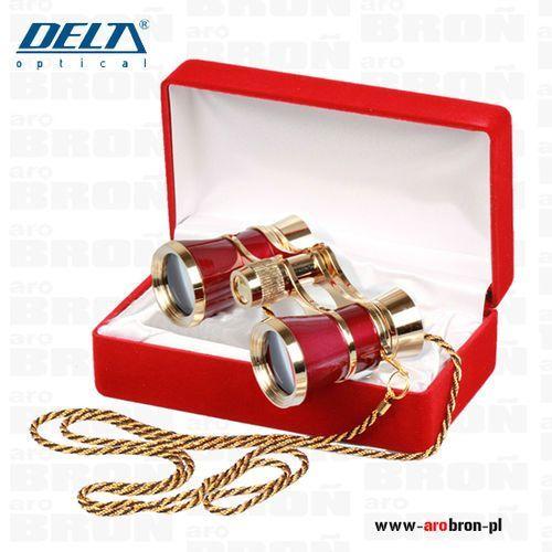 Lornetka teatralna 3x25 czerwona (do-1510) - elegancka, z łańcuszkiem marki Delta optical