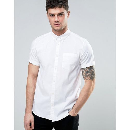 River Island Regular Fit Oxford Shirt With Short Sleeves In White - White