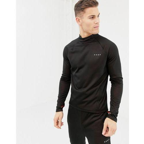1/4 zip sweatshirt with bonded tech inner fleece with thumbholes - black marki Asos 4505