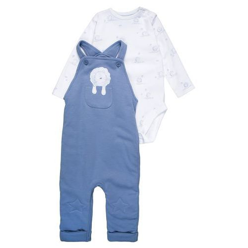 mothercare INTERLOCK WADDED STAR KNEE DUNGAREE BABY SET Body blue (5021463690534)