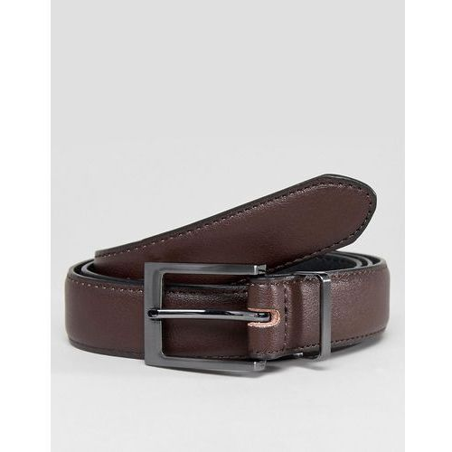 faux leather belt in dark brown - brown marki New look