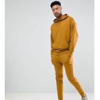 ASOS DESIGN Tall Tracksuit Oversized Hoodie/Skinny Joggers In Dark Yellow - Yellow