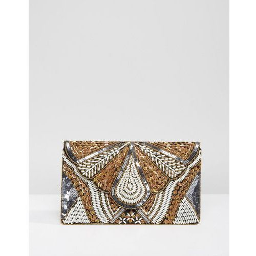 beaded handmade embellished fold over clutch bag - black marki Park lane