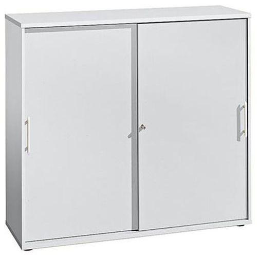 Hammerbacher Fino - szafa z przesuwanymi drzwiami, po 2 półki, 1 ścianka działowa, wys. x sze