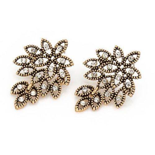 Kolczyki z kryształkami złoto antyczne - złoto antyczne