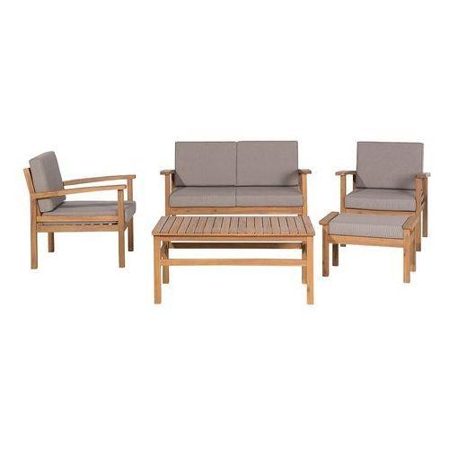 Meble ogrodowe brązowe - stół + 2 fotele + ławka + hoker - MANILA (7105275244364)