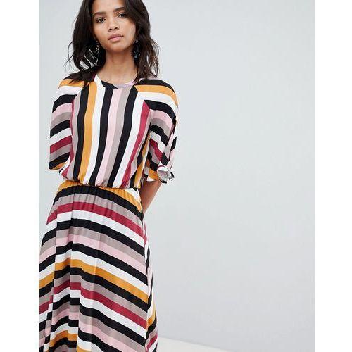 stripe midaxi dress with asymmetric hem - multi marki Y.a.s